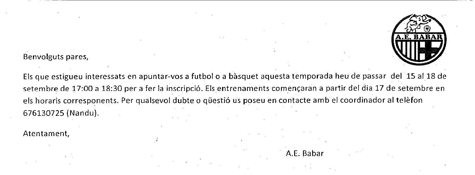 ACTIVITATS EN HORARI NO LECTIU (A.E. BABAR)