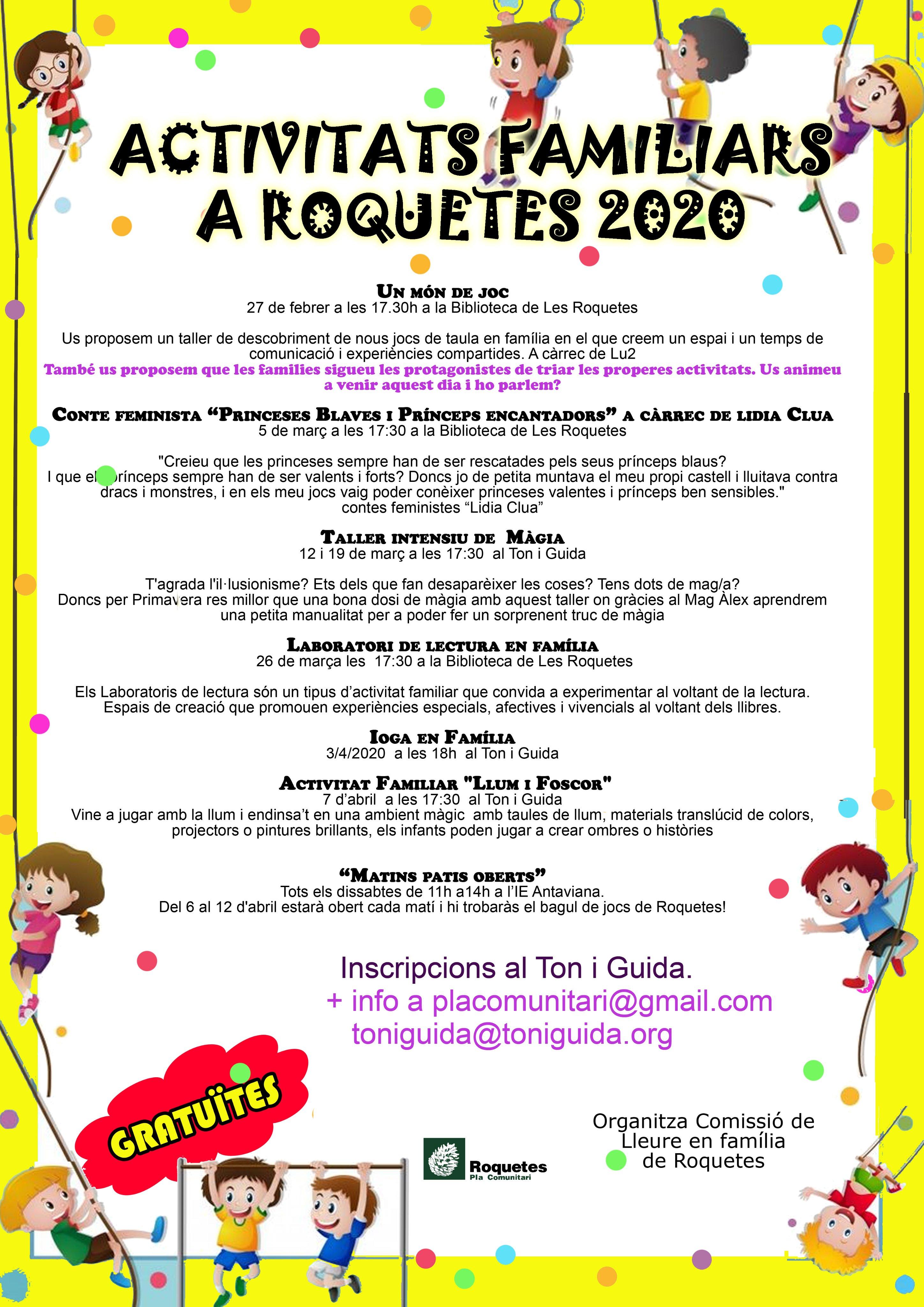 Activitats Familiars a Roquetes – Març i Abril 2020